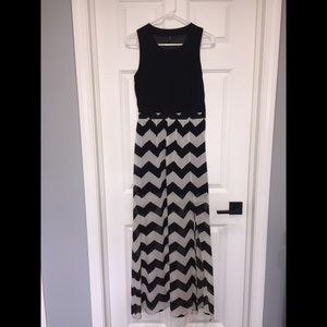 Black and Tan Chevron Maxi Dress
